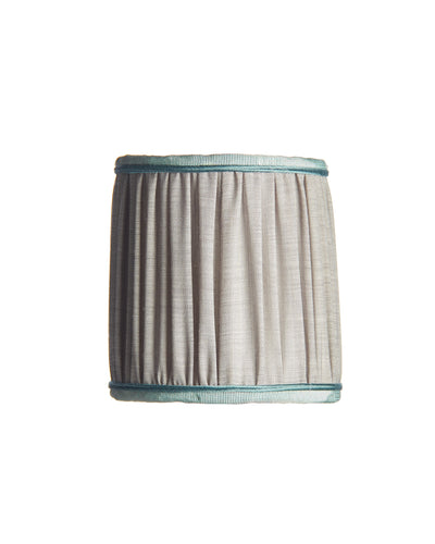 Mini Fortuny Shirred Pleat Gray Linen with Aqua Grosgrain Trim