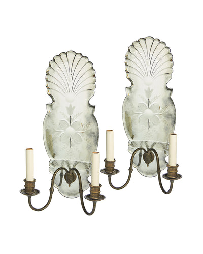 Pair Sconces Mirrored Floral Motif by E.F. Caldwell NYC