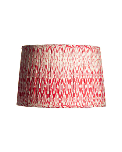 Drum Ikat Red and White Open Box Pleat Lampshade Couture