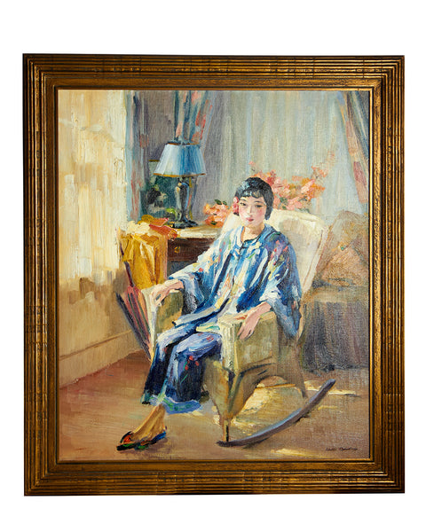 "Original Oil on Canvas ""May Louis"" Reclining 1940's by Loren Barton"