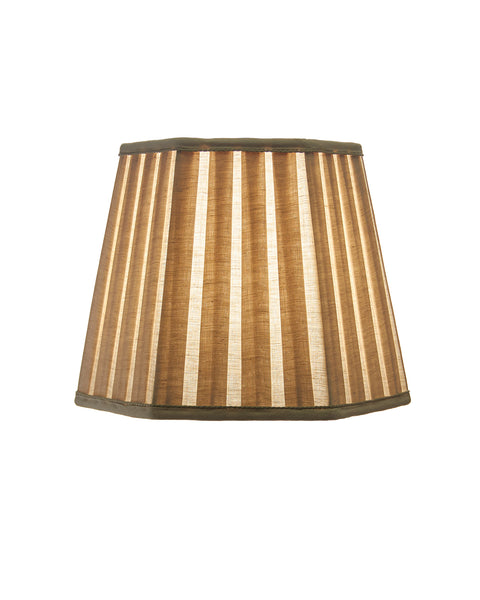 Hexagonal Open Box Pleat in Ulster Linen Oatmeal Lampshade