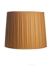 Tall Drum Open Box Pleat Caramel Charmeuse Lampshade