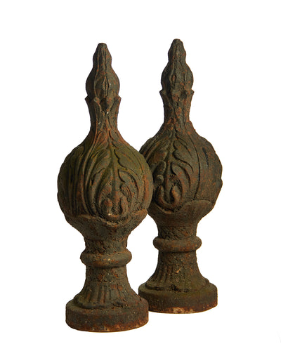 Pair Cast Iron Acanthus Leaf Newel Post Finials