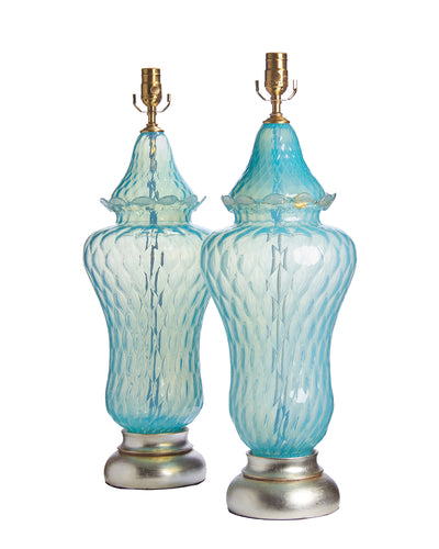Pair Confection Murano Quilted Aqua Lamps