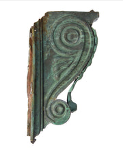 Pair Architectural Corbels - Copper Green Patina Acanthus leaf