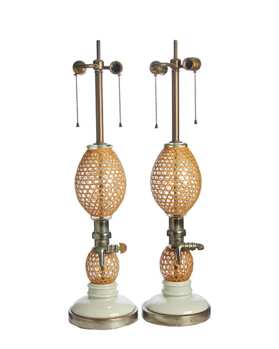 Pair Antique French Seltzer Bottle Lamps