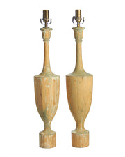 Pair Antique Vintage Turned Wooden Urn Lamp