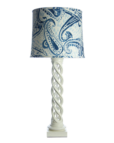 Pair James Mont Helix Lamps with Clarence House Blue Paisley Lampshades