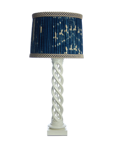 Pair James Mont Helix Lamps with Vintage Indigo Woven Lampshades