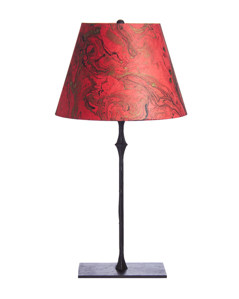 Bronze Lamp with Italian Marble Paper Red Lampshade