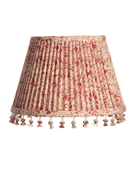 Swing Arm Red and White Pleated with Houles Onion Fringe Lampshade