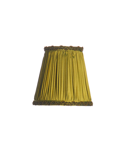 Shirred Pleat Acid Green Shantung Mini Lampshade