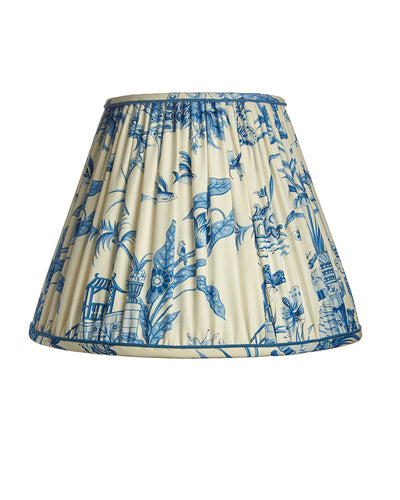 Soft Roll Pleat Blue and White Pangong Clarence House Lampshade