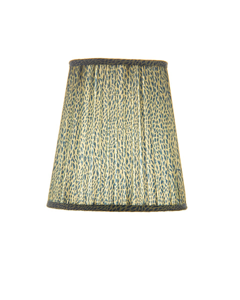 Elongated Empire Soft Roll Pleat Blue and White Print Lampshade