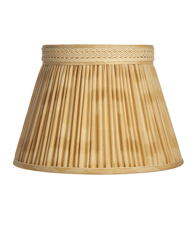 Roll Pleated Gallery Empire in Cream Ikat with Mokuba Trim