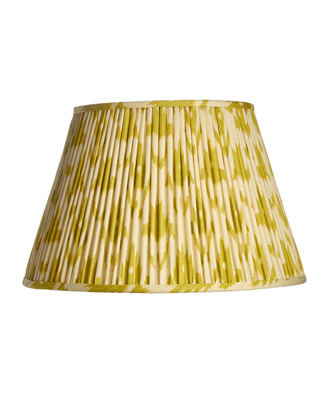 British Empire Roll Pleat Green and White Ikat Lampshade
