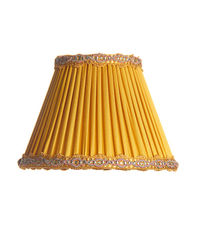 Empire Pleated Maize Charmeuse Silk with Fan Trim Lampshade