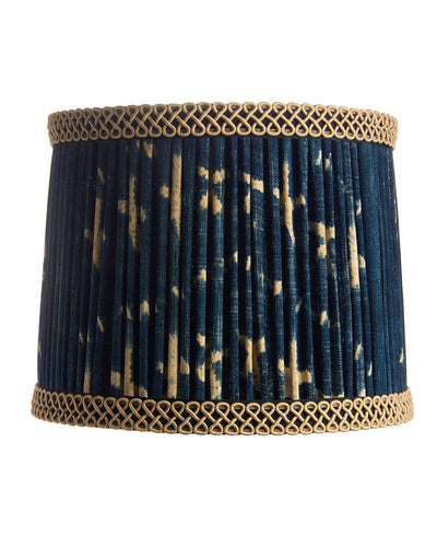 Modified Drum Pleated Vintage Indigo Fabric Lampshade