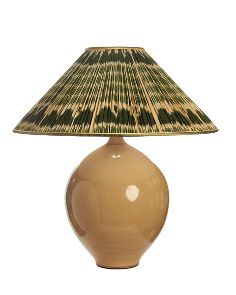 Pair Porcelain Taupe Sphere Lamps with Green Ikat Lampshades
