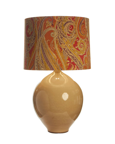 Pair Porcelain Taupe Sphere Lamp with Parker Paisley Lampshade