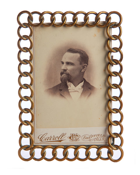 Rectangular Portrait Brass Round Chain Link Portrait Frame Handsome Mustache