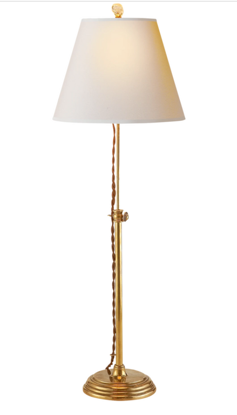 Abbott Brass Candlestick Adjustable Table Console Lamp