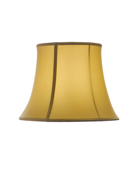 Modified Bell Stretched Chartreuse Yellow Bamboo Charmeuse Silk Lampshade