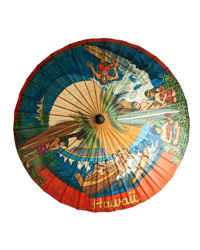 Souvenier of Hawaii Hand Painted Umbrella Antique