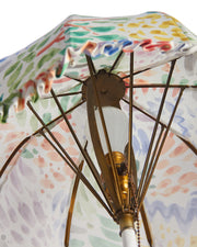 Antique Umbrella Lamp with Clarence House Solé Fabric Open and Closes