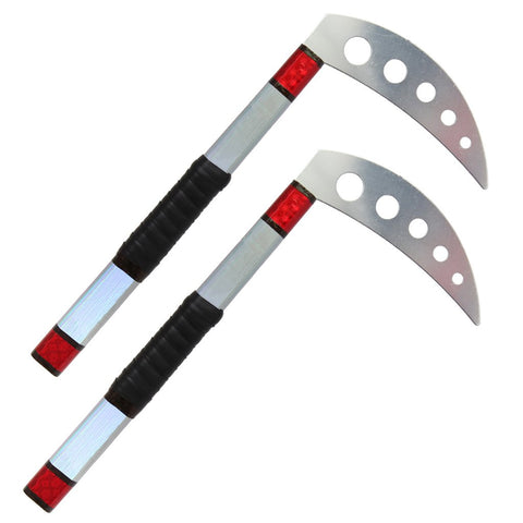 PRISM DEMO KAMA – RED AND SILVER WITH GRIP - Talon Fight Gear