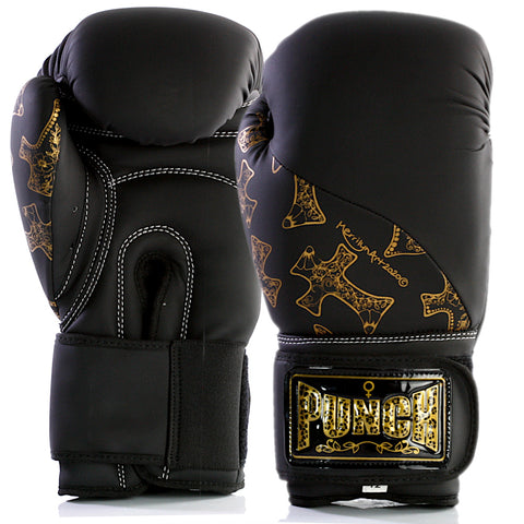 WOMENS BOXING GLOVES – GOLD CROSS ART – BLACK