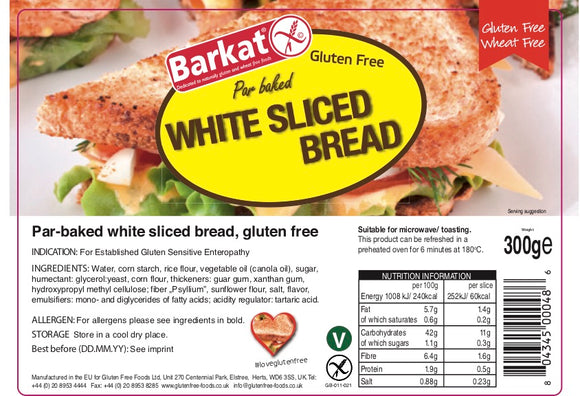Gluten Free Par Baked White Sliced Bread