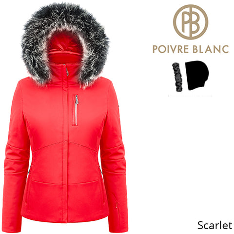 Poivre Blanc Womens Active Stretch Ski Jacket Scarlet