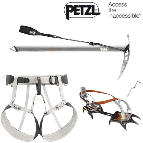 Petzl Mountain Tracks Offer - Tour Harness, Irvis Crampon & Glacier Axe Package