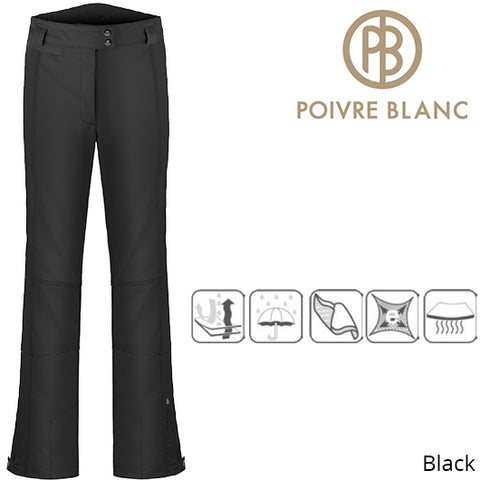 Poivre Blanc Womens Traditional Stretch Ski Pants Black