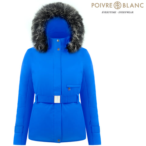 Poivre Blanc - Women's Stretch Belted Ski Jacket, True Blue