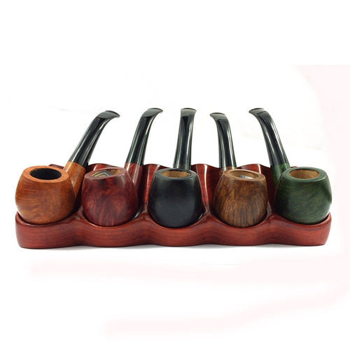 Rose Wooden Smoking Pipe + Display Rack Stand 5 Pipe Holder