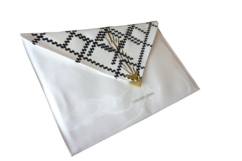 White Print Envelope Clutch Bag - Caramel Jones - 1