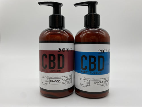 2 Pack 8 OZ / 200 MG CBD Lotion Blood Orange & Eucalyptus