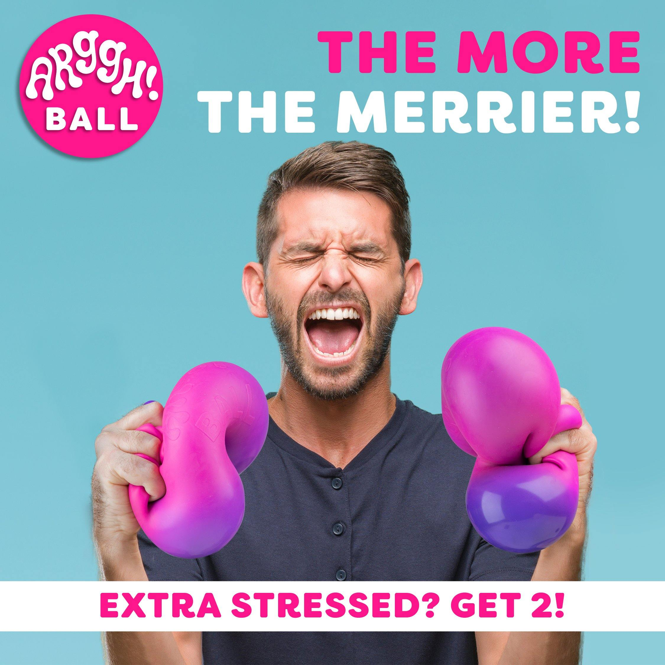 Arggh! Ball Jumbo Color-Changing Stress Ball - (Yellow-Orange / Pink-Purple) - poweryourfun