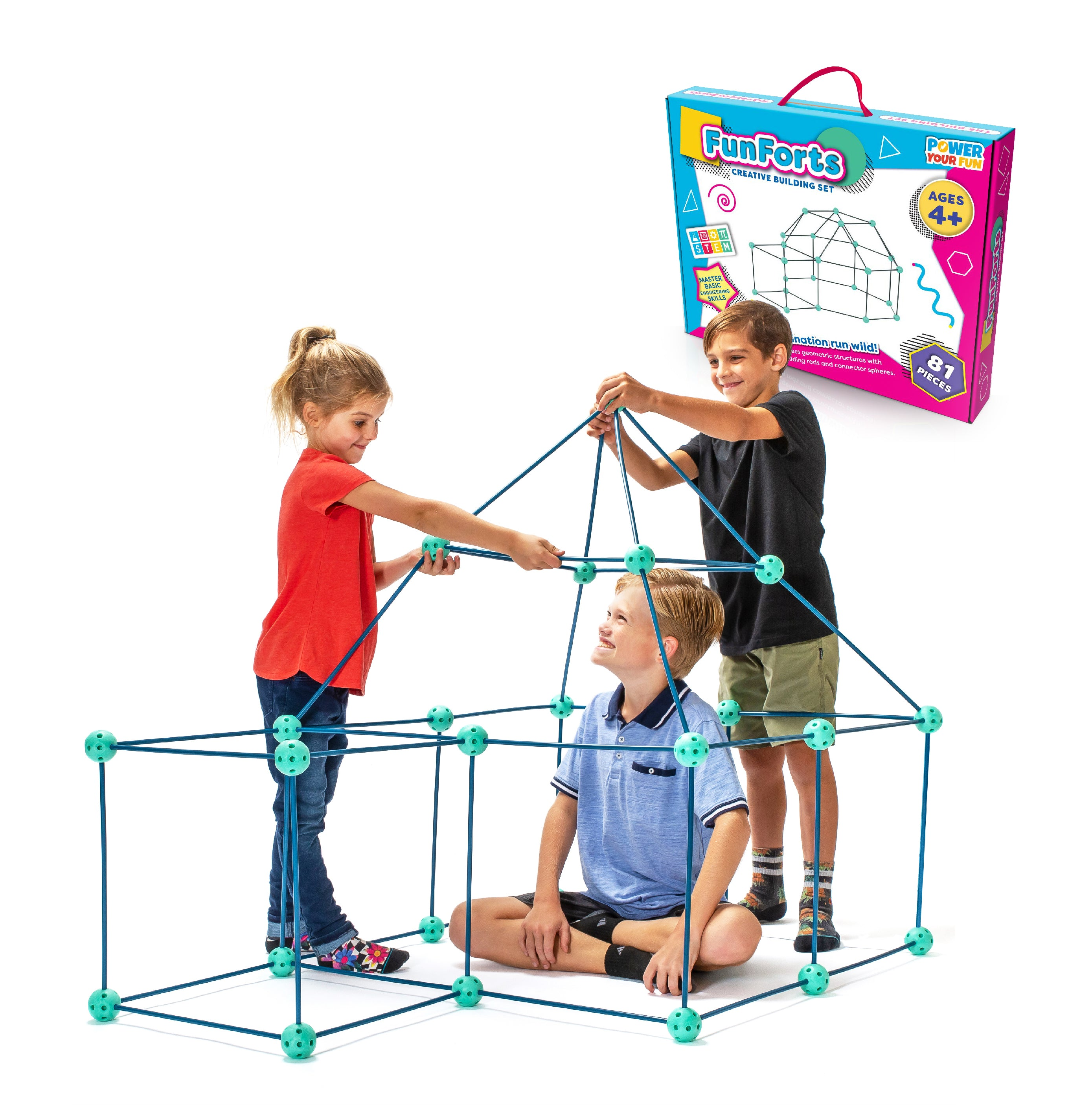 Fun Fort Building Kits for Kids (81pcs) - poweryourfun