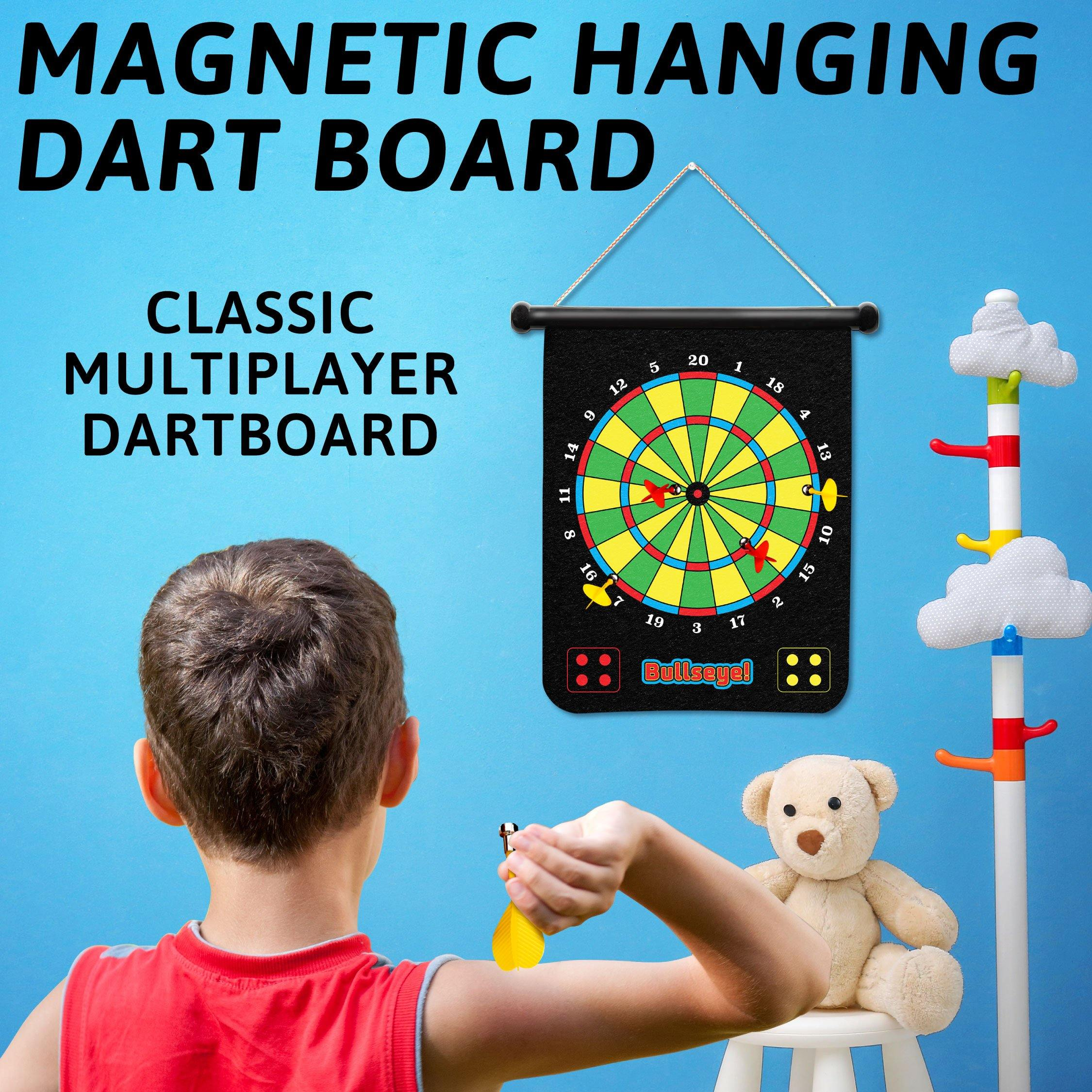 Double-Sided Roll Up Dartboard with Magnetic Darts and Balls