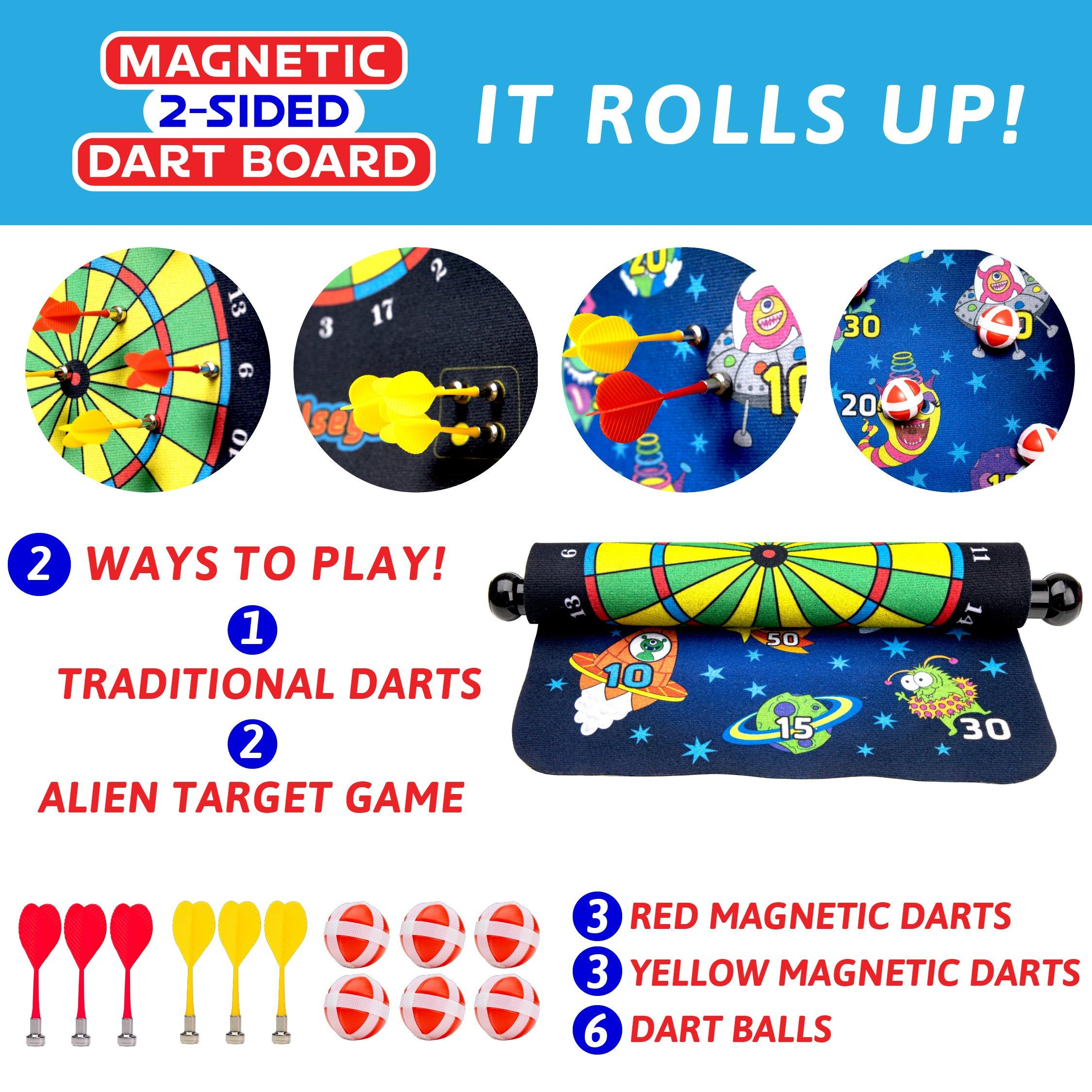 Double-Sided Roll Up Dartboard with Magnetic Darts and Balls - poweryourfun