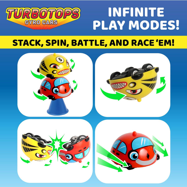 Turbo Tops Gyro Cars Spinning Tops- 2 Pack