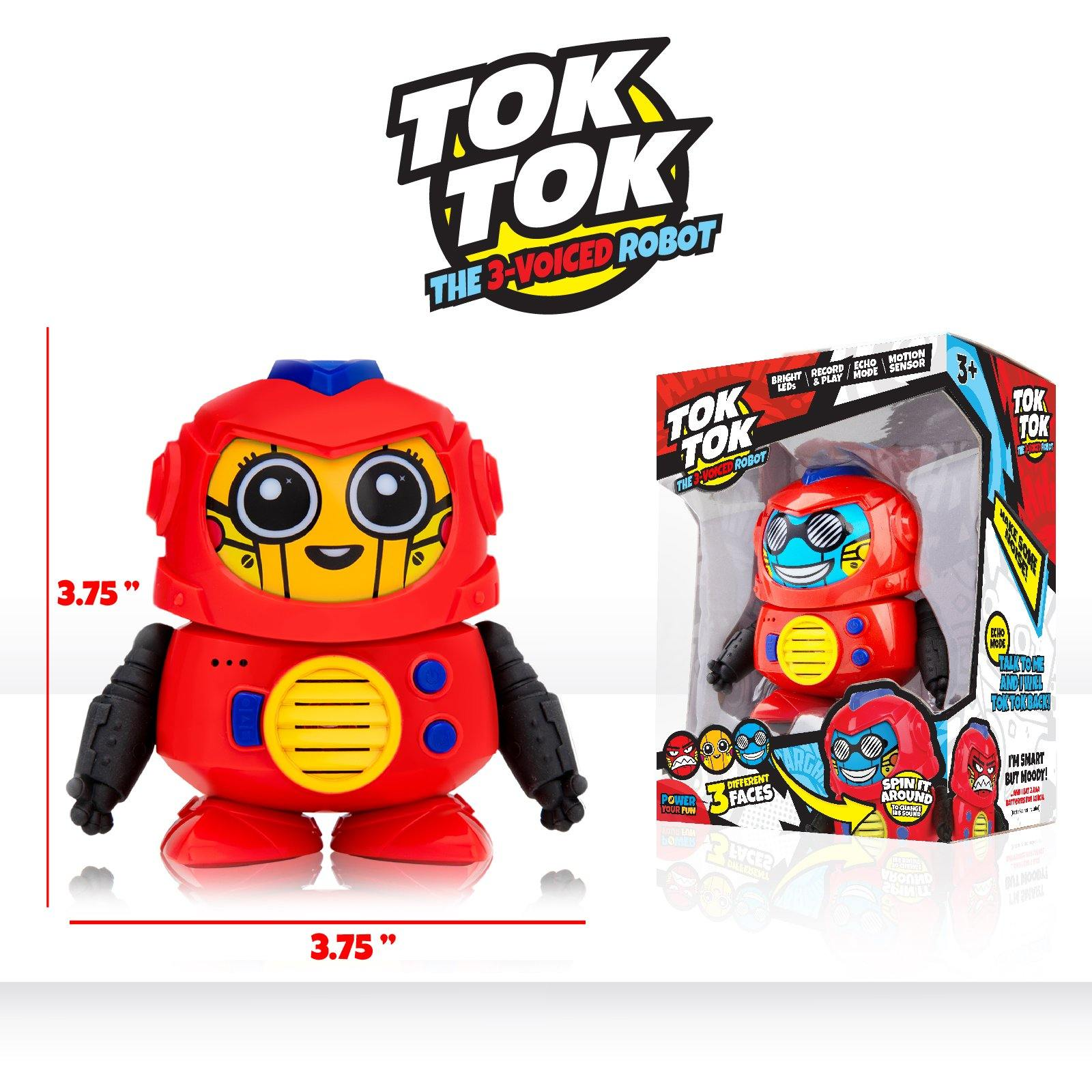 Tok Tok Mini Voice Changer Robot with 3 Robot Voices and Faces - poweryourfun