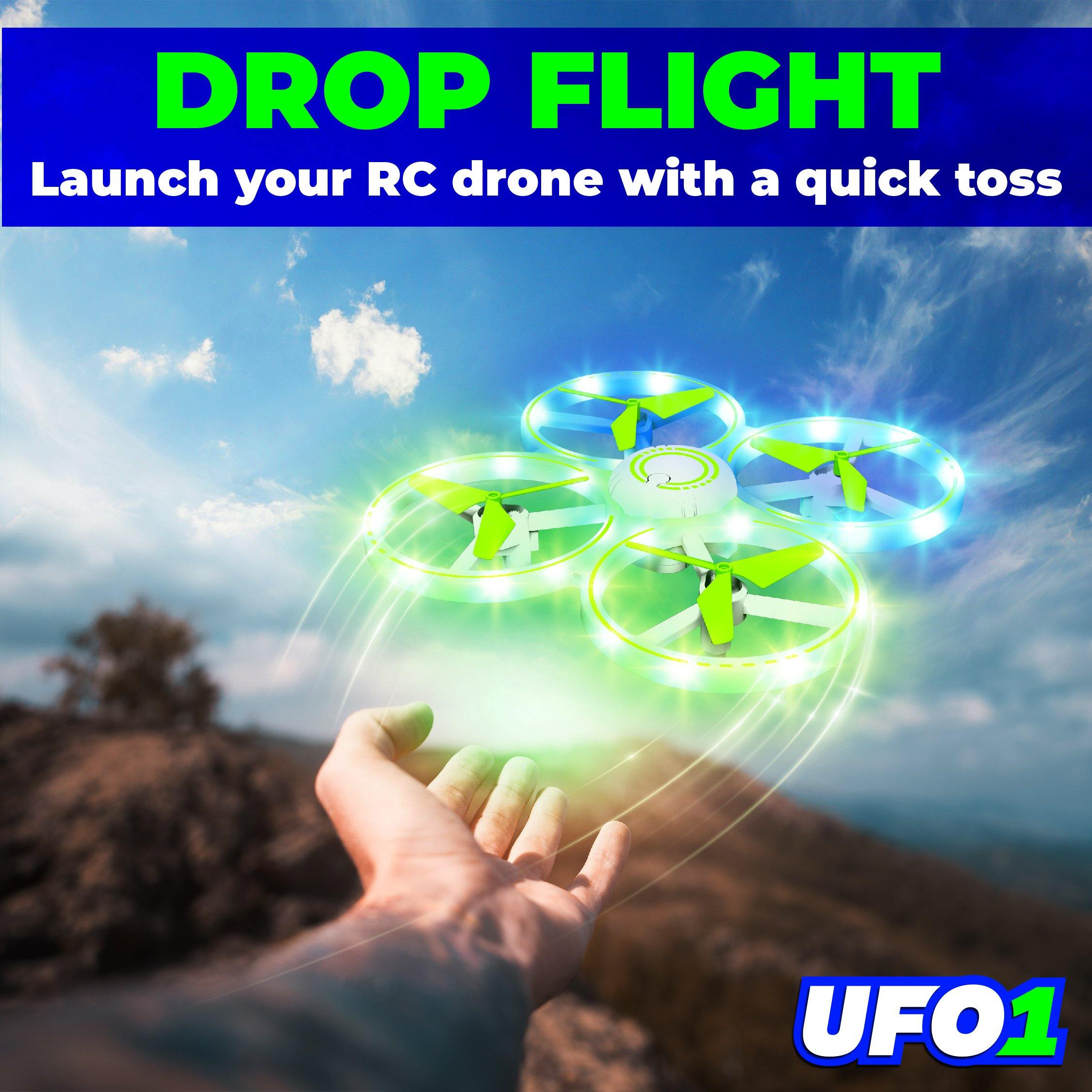 UFO1 Mini LED Drone with Hand Motion Sensors (Green) - poweryourfun