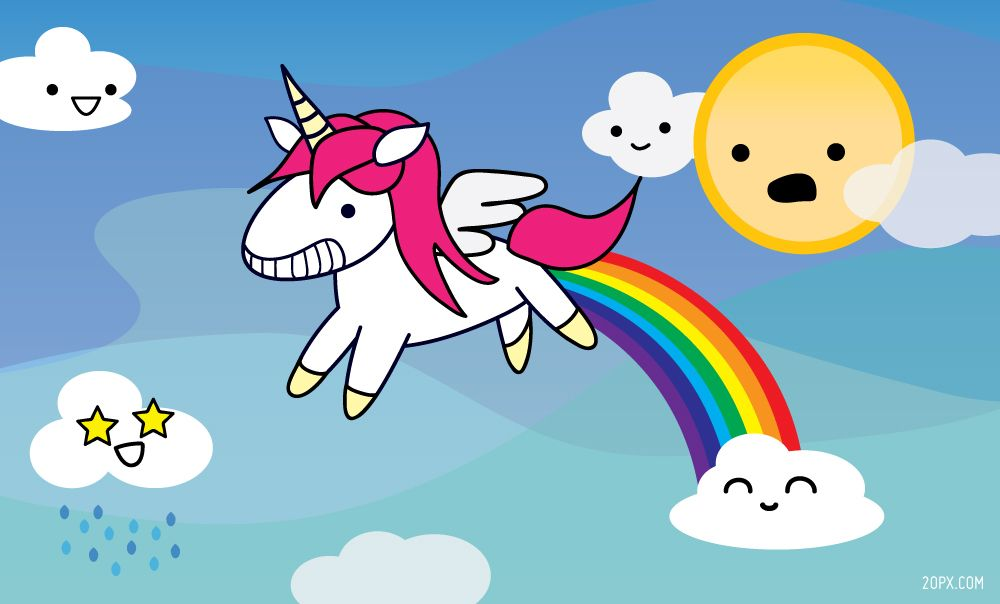 Unicorn flying and pooping a rainbow