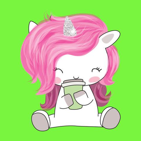 cute unicorn image with pink hair sitting