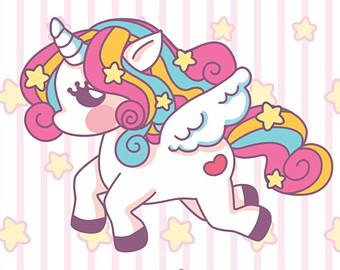 Image of a drawing of a baby unicorn or pegase with rainbow colors