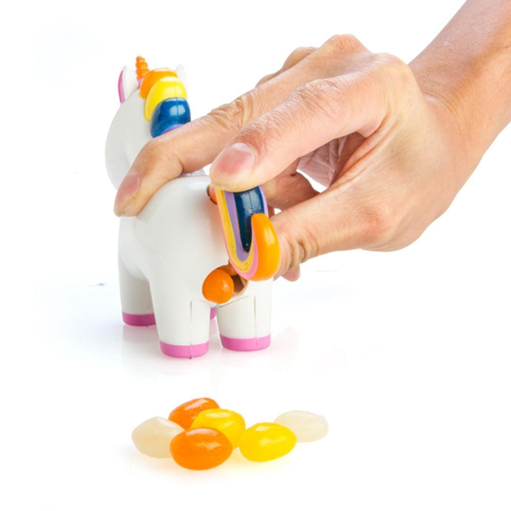 Unicorn toy poops colorful candy